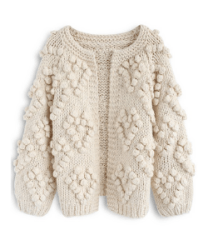Chic wish knitted cardigan in ivory with bobble