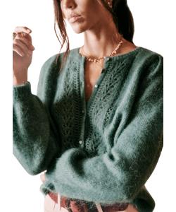 Sezane green cardigan summer knitwear 2021