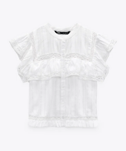White Western shirt TEXTURED TOP WITH RUFFLED TRIMS