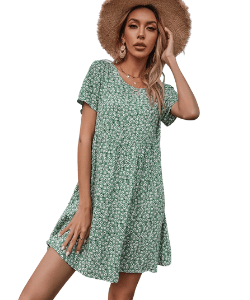 Boho style floral print mini dress from Shein