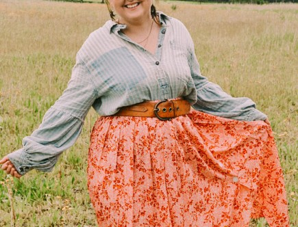Free People denim puff sleeve shirt with western belt, cowboy boots and ASOS floral midi skirt