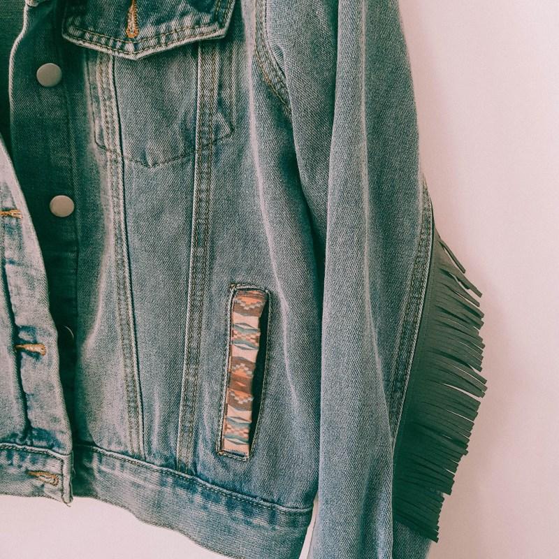 Western fringe jacket denim with Aztec print