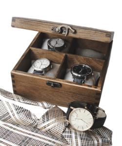 Wooden watch box Watch case Mens watch box in rustic style Watch box for men Watch box for 4 watches Watch storage box Groomsmen Gift