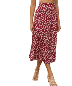 Shein pink red floral print midi skirt a line