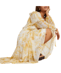 Yellow floral print boho maxi dress