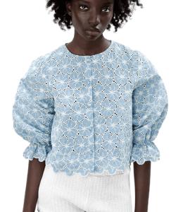 Zara blue blouse puff sleeve, balloon sleeve frilly top