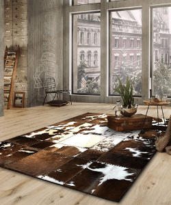 HANDMADE 100% Natural COWHIDE RUG | Patchwork Cowhide Area Rug | Real Cowhide Hallway Runner | Hair on Leather Cowhide Carpet