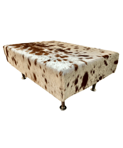 Cowhide footstool, upholstered stool, hair on hide, home and living.