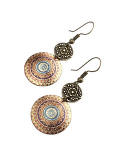 Mandala Earrings, Vintage Bronze, Boho Jewellery, Zen Yoga, Moroccan Earrings, Bohemian Earrings, Ethnic Style, Tribal Motif, Gold Earrings