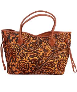 Tooled leather handbag western style