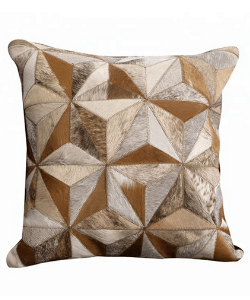 Set of 2 Tricolor Cowhide Cushion Covers Pillow Case Geometric Design 16 X 16 Hair On Decorative Cushion Cow hide Throw Covers set