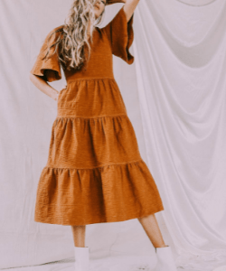Brown tiered 3/4 length dress
