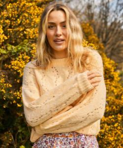 Yellow boho open knit jumper
