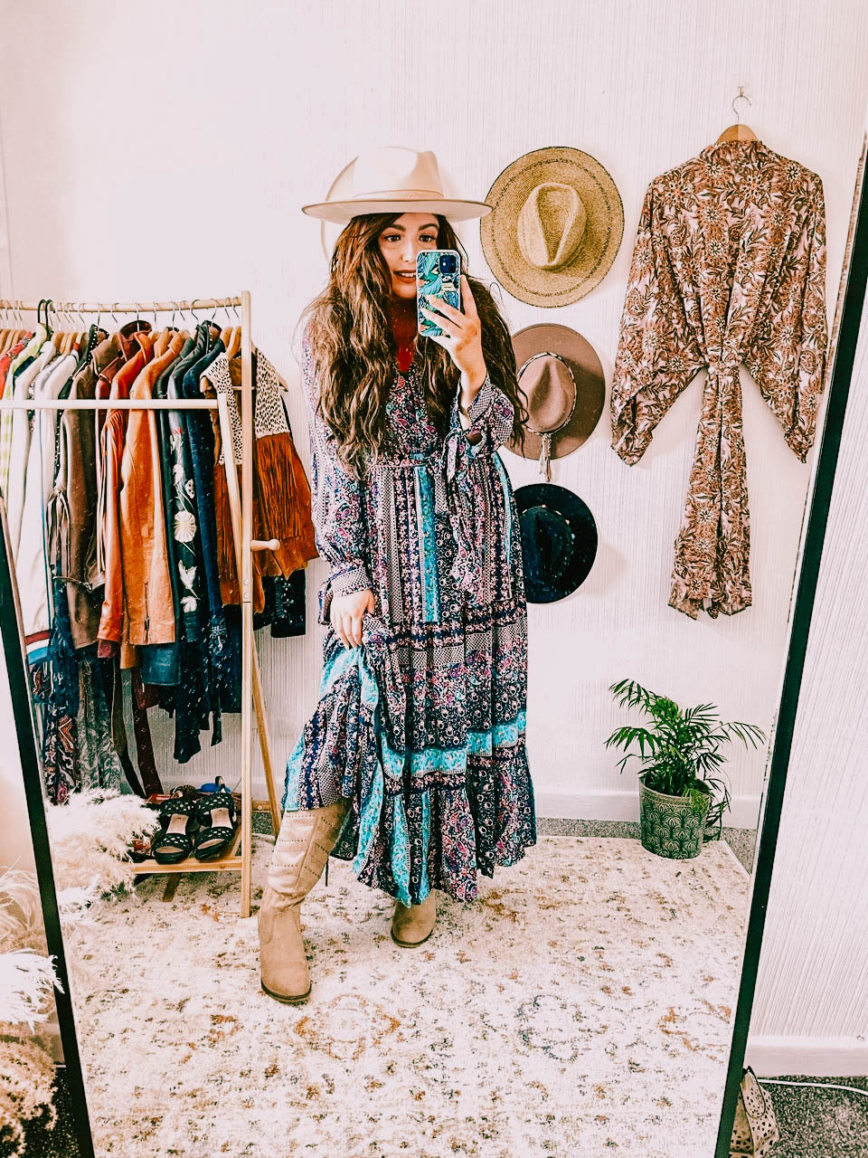 Boho dress and cowboy boots with bohemian hat