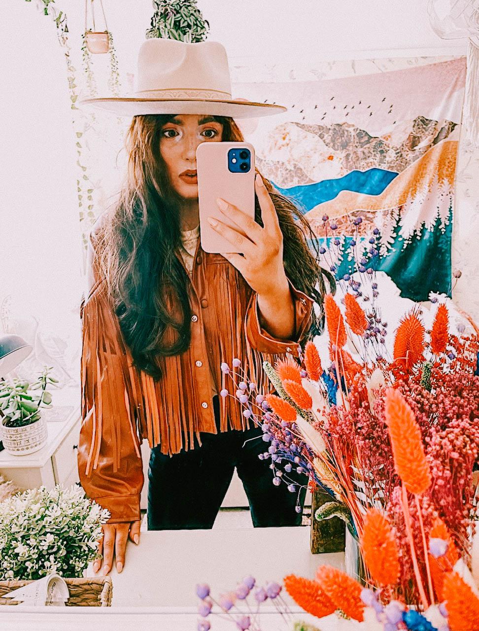 Fringe jacket and fedora hat, bohemian jacket