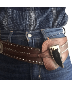 Hand made leather and cow horn belt western belt
