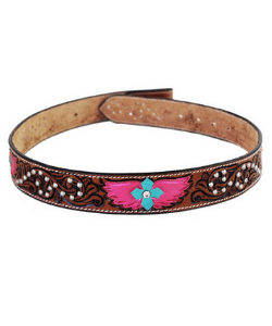 Handmade Heart & Wings Bling Tooled top grain leather Western Style Belt