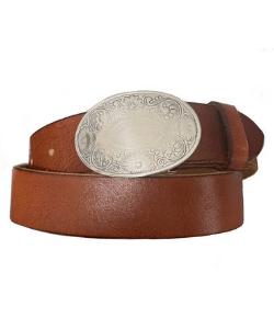 Womens vintage brown western oval buckle belt, western fashion