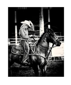 Cowgirl print b&w