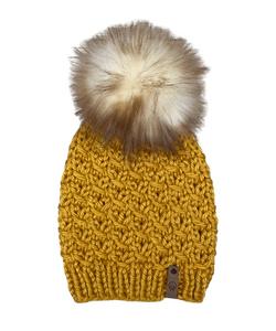 Autumn chunky knit beanie with faux fur pom pom