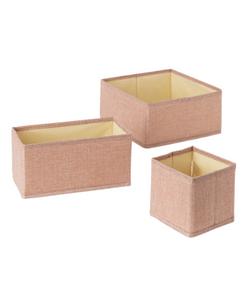 SKLUM SET OF 3 BOXES IN SAMEL LINEN
