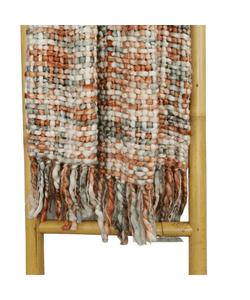 Chunky Knit Throw Blanket, Terracotta And Grey, boho blanket