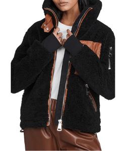 Boulder Jacket in black with tan leather trim, sherpa jacket