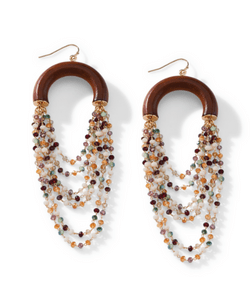 Park Lane Jewellery. Hand Beaded Statement Earrings. Cascading Beads in Hues of Green, Purple, Taupe, & Peach