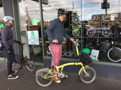 A small side-trip to Velo Electric & Folding to check out the Nickel in the window - #MelburnRoobaix #Melbourne #Brompton Club
