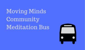 Moving Minds Community Meditation Bus heading and bus logo