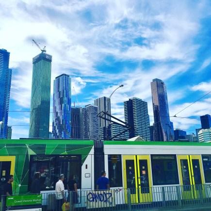 skyline Melbourne tram