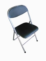 Chrome Frame Black Padded Folding Chair