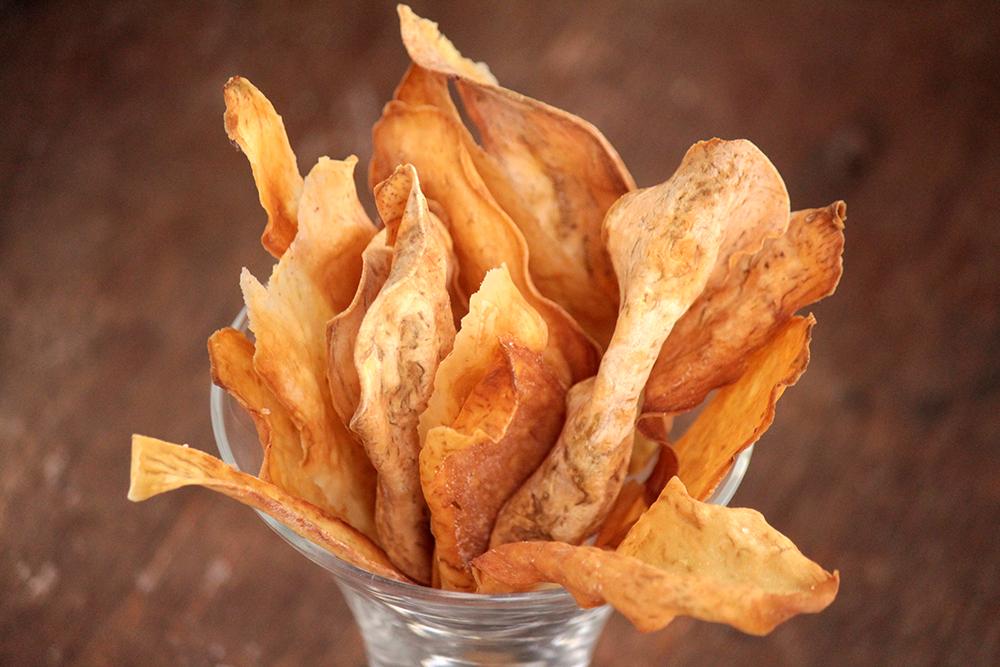Chips de batata-doce assados - Faça em casa