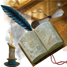 Book, quill, scroll and candle