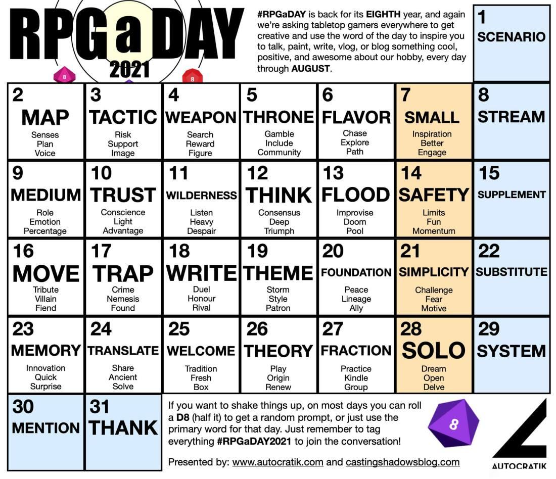 RPGaDay2021 Calendar