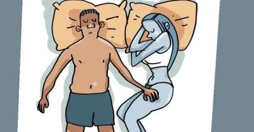 posição em que um casal dorme