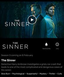Lançamento da Netflix da terceira temporada do Sinner