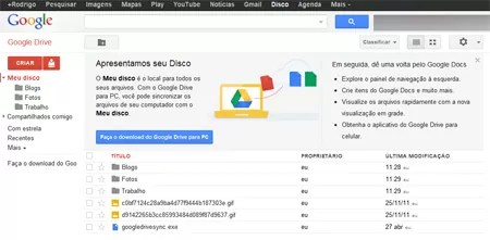 Google Drive Interface conta