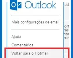 Outlook voltar Hotmail