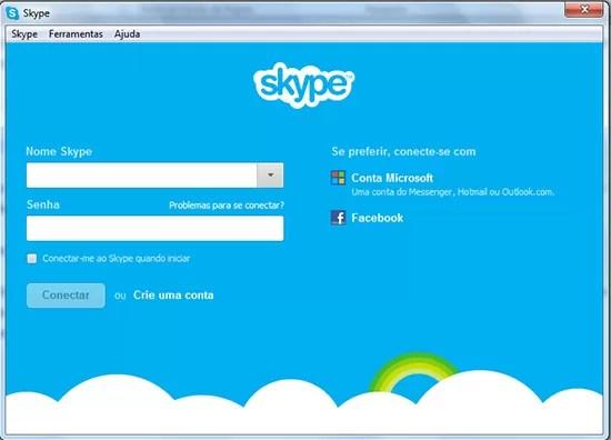 Tela Login Skype