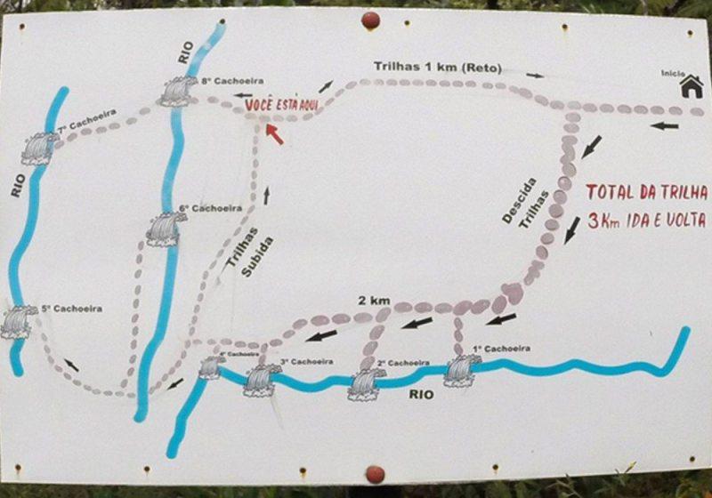 Mapa das cachoeiras