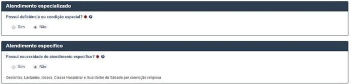 atendimento especializado Inscrição Enem 2017