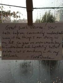 Todd appreciates Desiree...