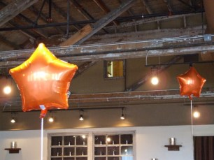 Orange balloons to remind us of the fall leaves.