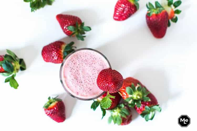 recept aardbeien - munt milkshake