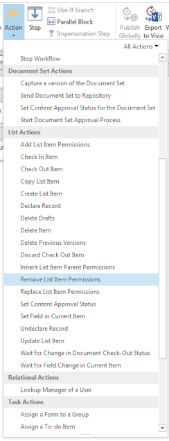 SharePoint Designer workflow actions