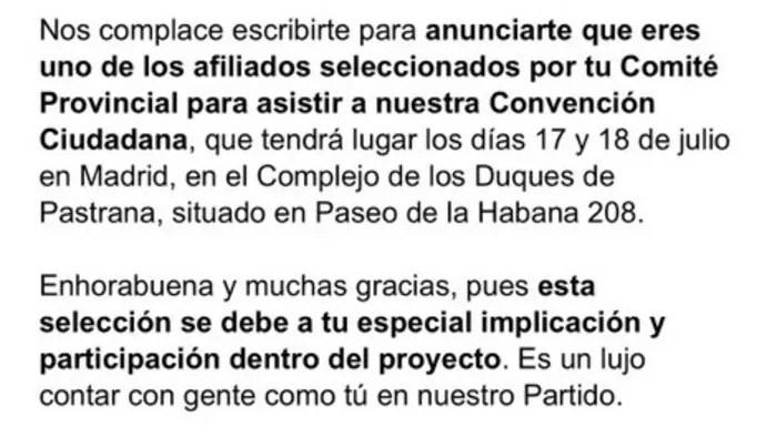 Invitación Sergio Martínez Ciudadanos Melilla