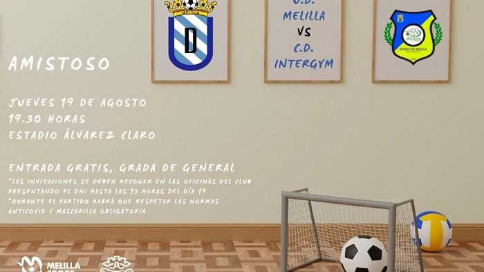 Cartel del encuentro amistoso entre la U.D. Melilla y el C.D. Intergym Melilla