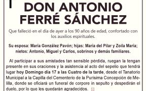 ESQUELA-DON ANTONIO FERRÉ SÁNCHEZ