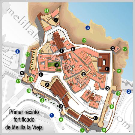 Plano del primer recinto fortificad
